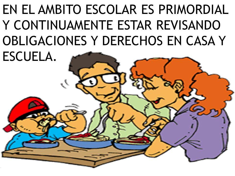 EN EL AMBITO ESCOLAR ES PRIMORDIAL Y CONTINUAMENTE ESTAR REVISANDO OBLIGACIONES Y DERECHOS EN CASA Y ESCUELA.