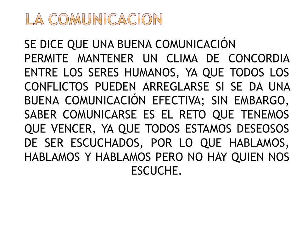 LA COMUNICACION SE DICE QUE UNA BUENA COMUNICACIÓN