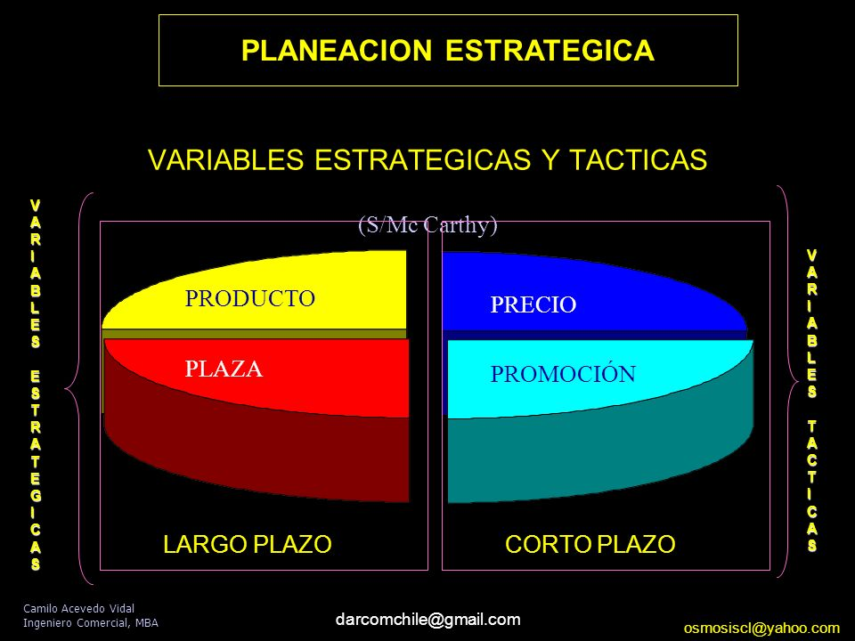 VARIABLES ESTRATEGICAS Y TACTICAS (S/Mc Carthy)