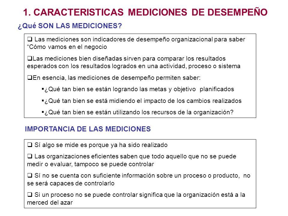 1. CARACTERISTICAS MEDICIONES DE DESEMPEÑO