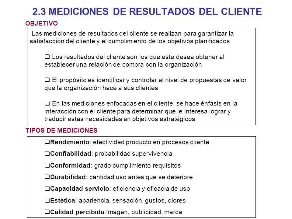 2.3 MEDICIONES DE RESULTADOS DEL CLIENTE