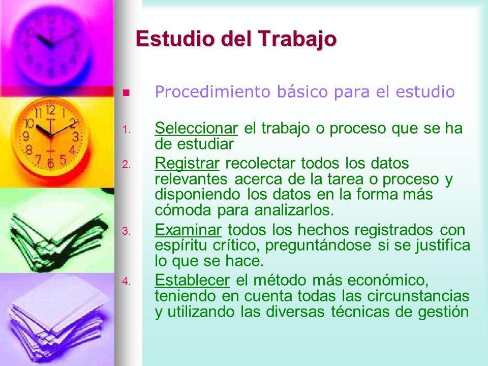 Estudio del Trabajo Procedimiento básico para el estudio