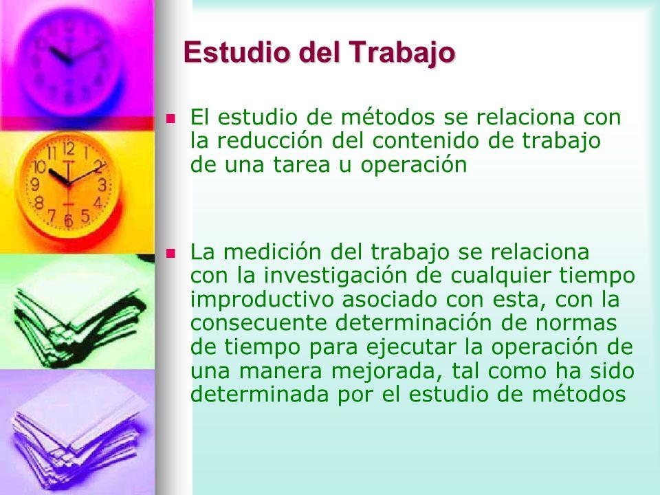 Estudio del Trabajo El estudio de métodos se relaciona con la reducción del contenido de trabajo de una tarea u operación.