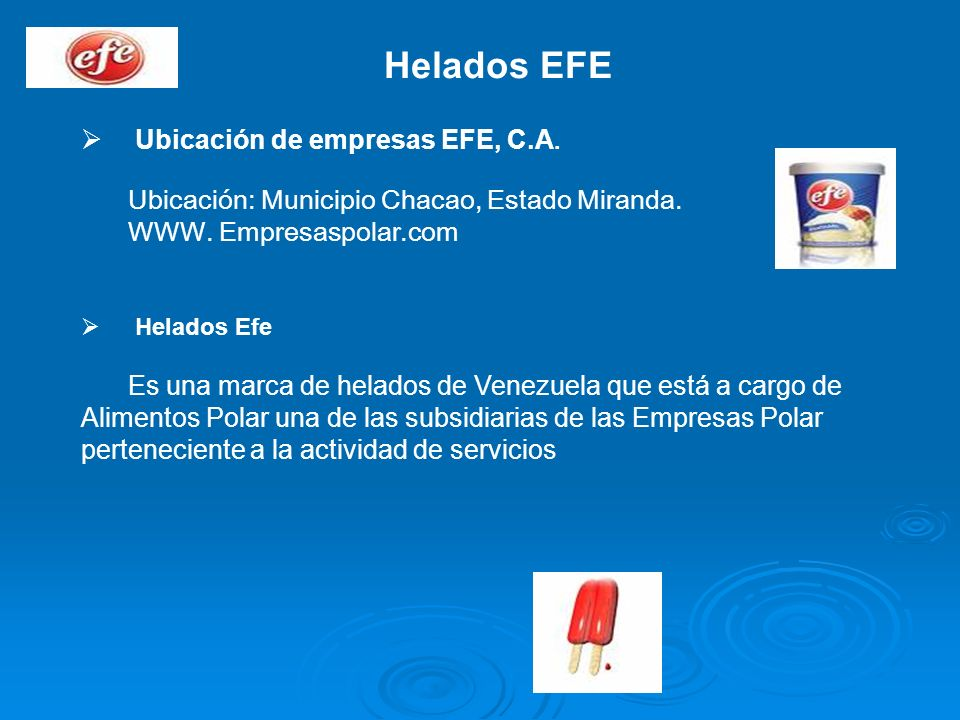 Helados EFE Ubicación de empresas EFE, C.A.