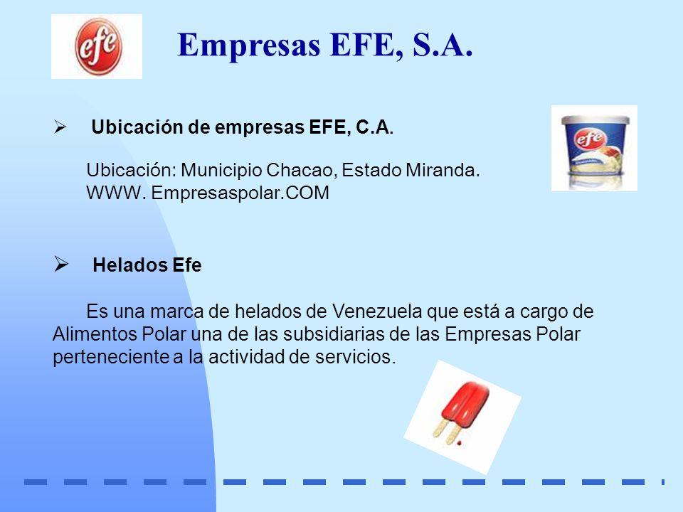 Empresas EFE, S.A. Helados Efe Ubicación de empresas EFE, C.A.
