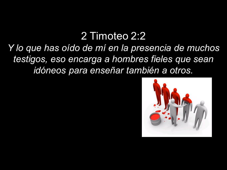 2 Timoteo 2:2Y lo que has oído de mí en la presencia de muchos testigos, eso encarga a hombres fieles que sean idóneos para enseñar también a otros.