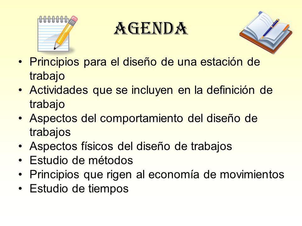 Agenda Principios para el diseño de una estación de trabajo