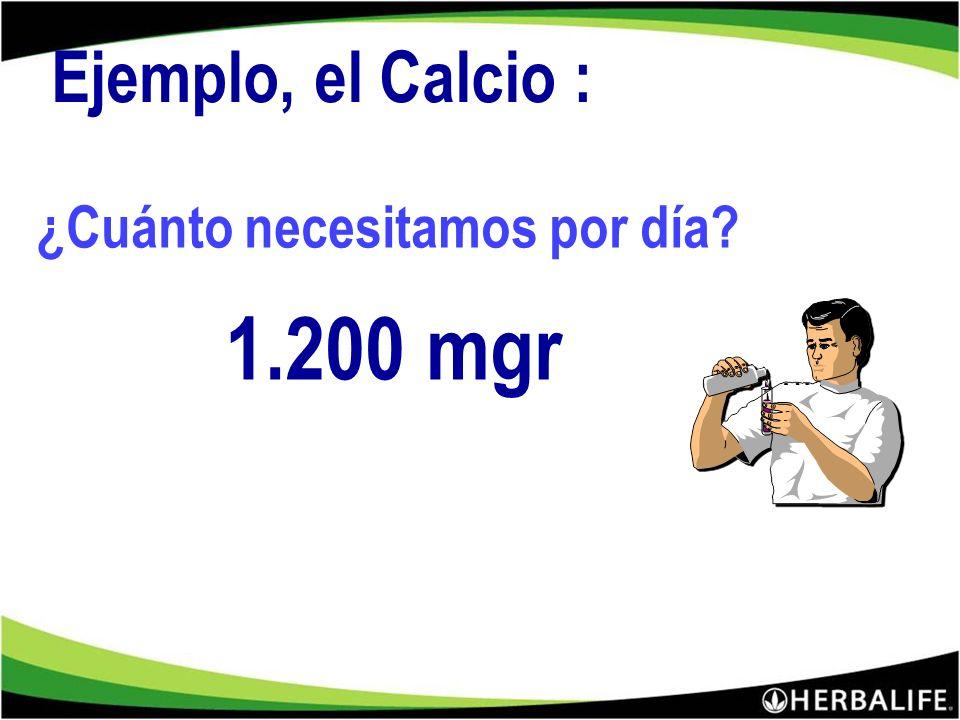 Ejemplo, el Calcio : ¿Cuánto necesitamos por día 1.200 mgr