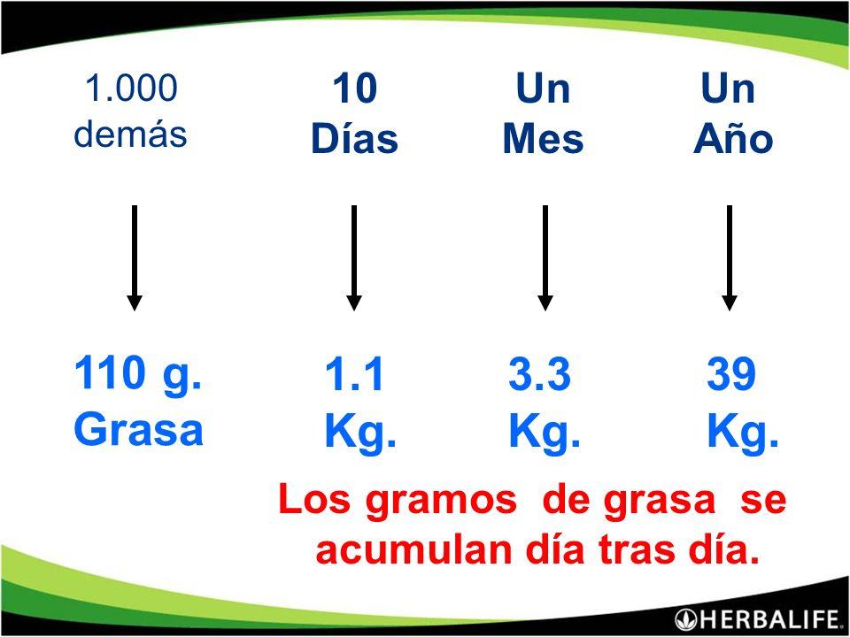 110 g. Grasa 1.1 Kg. 3.3 Kg. 39 Kg. 10 Días Un Mes Un Año