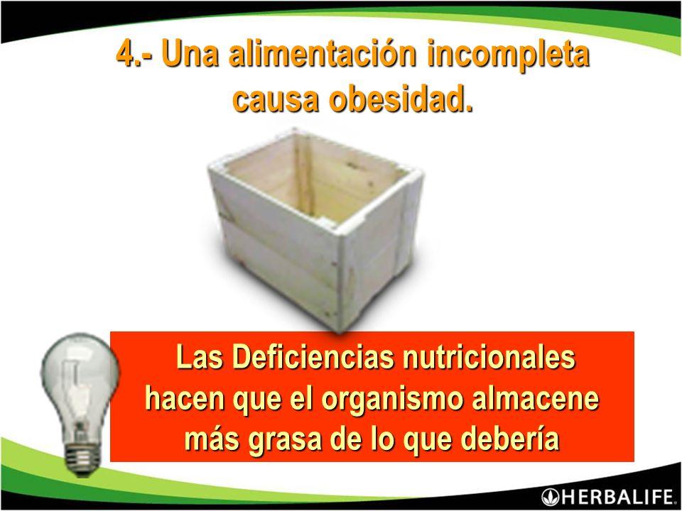 4.- Una alimentación incompleta causa obesidad.