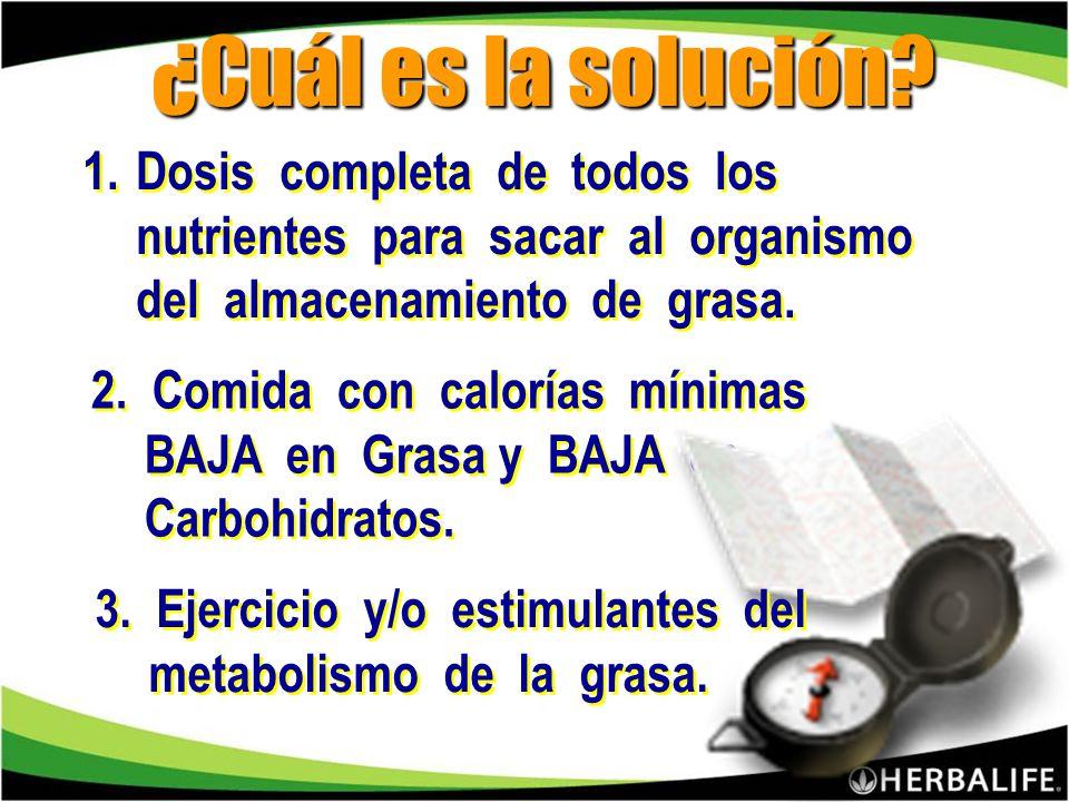 ¿Cuál es la solución Dosis completa de todos los nutrientes para sacar al organismo del almacenamiento de grasa.