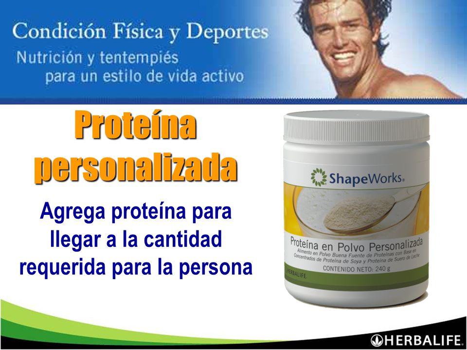 Agrega proteína para llegar a la cantidad requerida para la persona