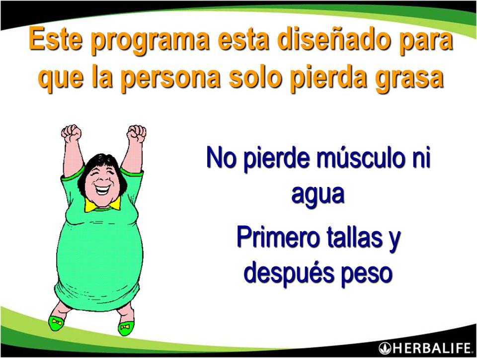 Este programa esta diseñado para que la persona solo pierda grasa