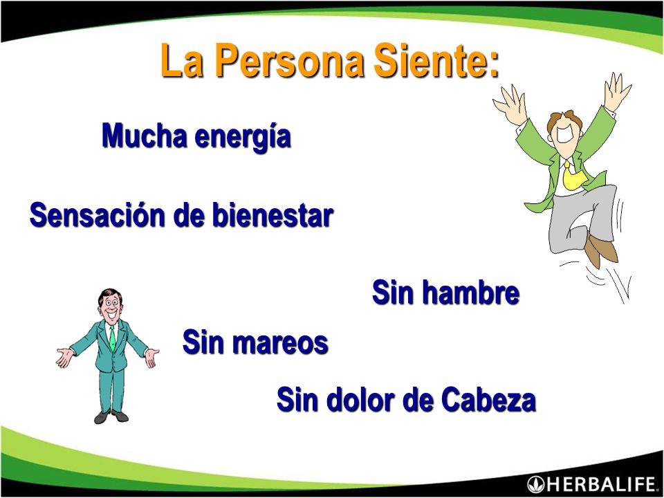 La Persona Siente: Mucha energía Sensación de bienestar Sin hambre