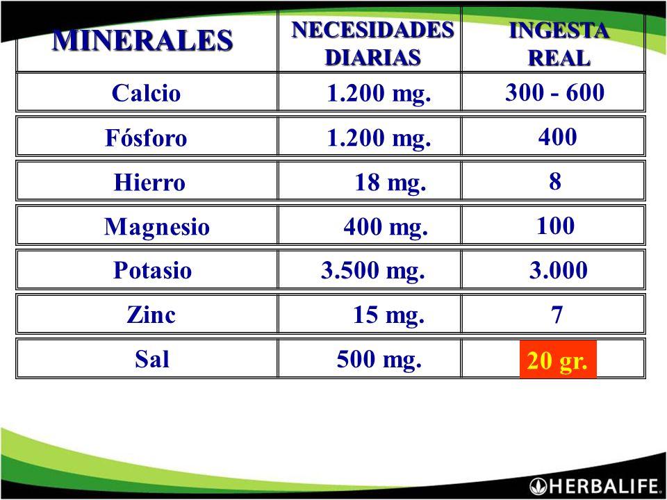 MINERALES Calcio 1.200 mg. 300 - 600 Fósforo 1.200 mg. 400 Hierro