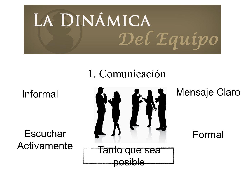 1. Comunicación Mensaje Claro Informal Formal Escuchar Activamente
