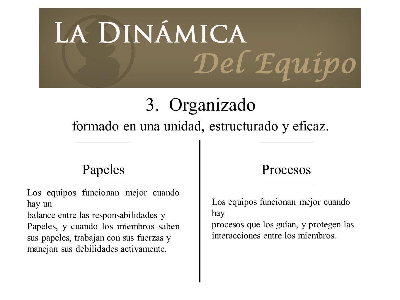 formado en una unidad, estructurado y eficaz.