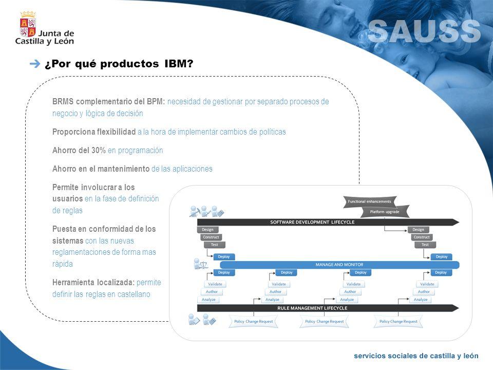 ¿Por qué productos IBM BRMS complementario del BPM: necesidad de gestionar por separado procesos de negocio y lógica de decisión.