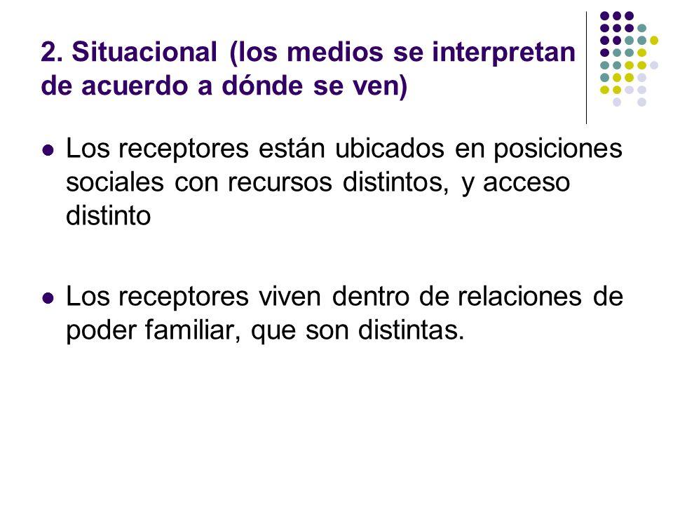 2. Situacional (los medios se interpretan de acuerdo a dónde se ven)