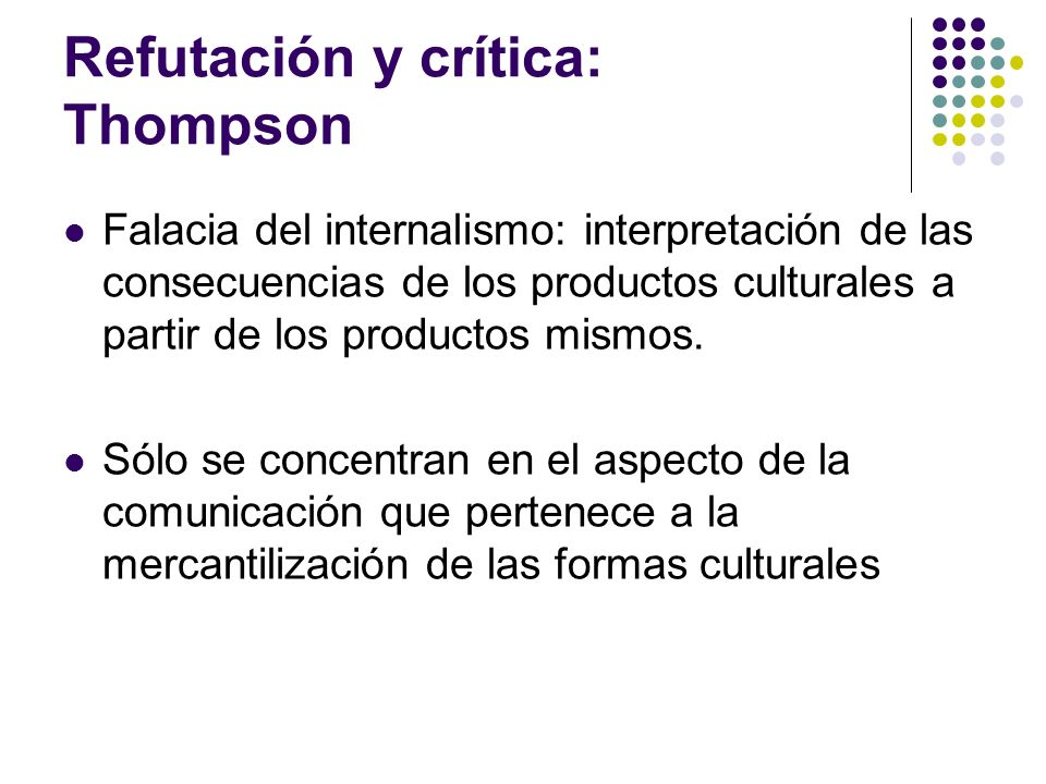 Refutación y crítica: Thompson