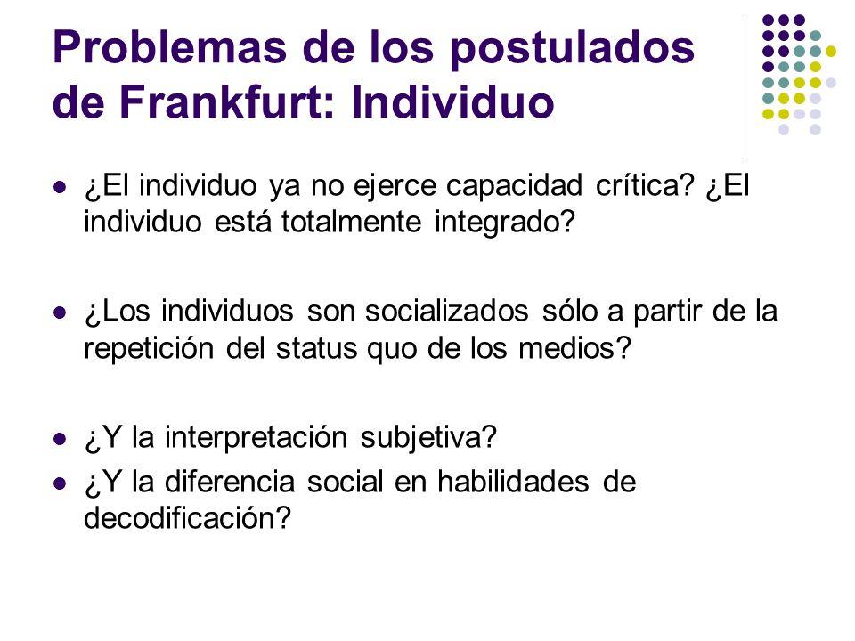 Problemas de los postulados de Frankfurt: Individuo