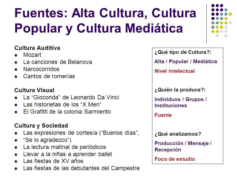 Fuentes: Alta Cultura, Cultura Popular y Cultura Mediática