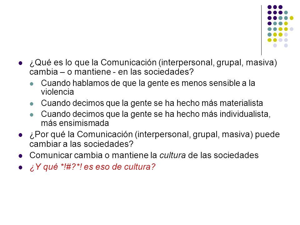 Comunicar cambia o mantiene la cultura de las sociedades