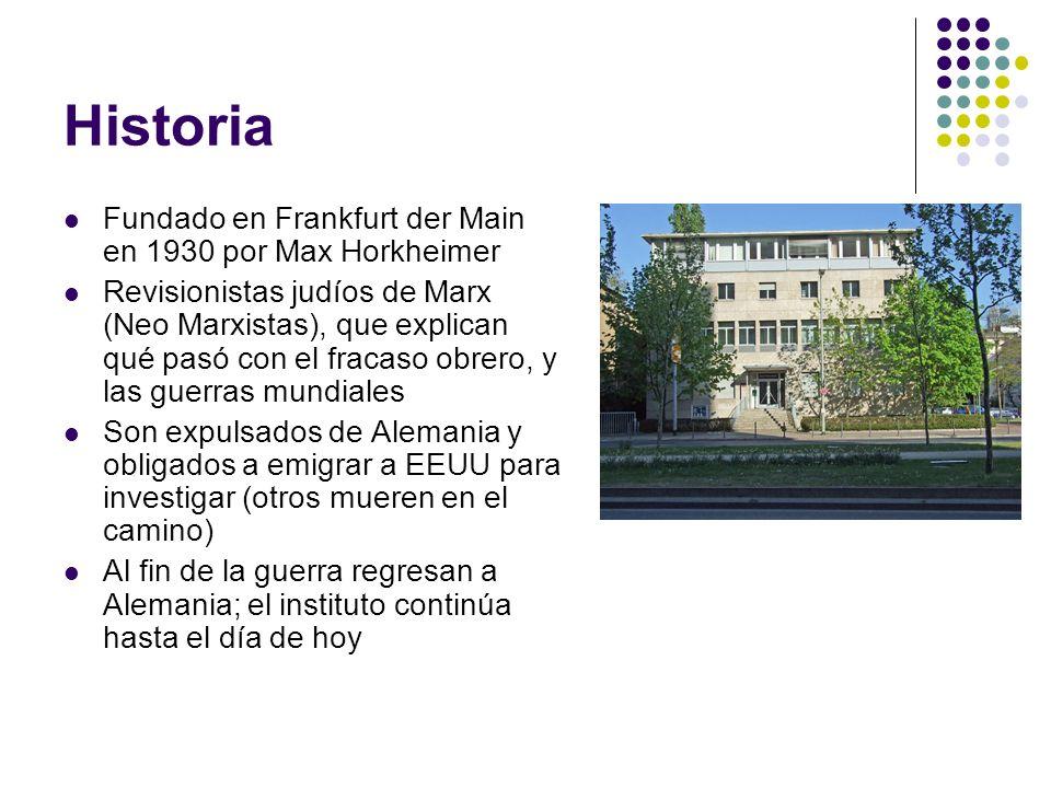 Historia Fundado en Frankfurt der Main en 1930 por Max Horkheimer