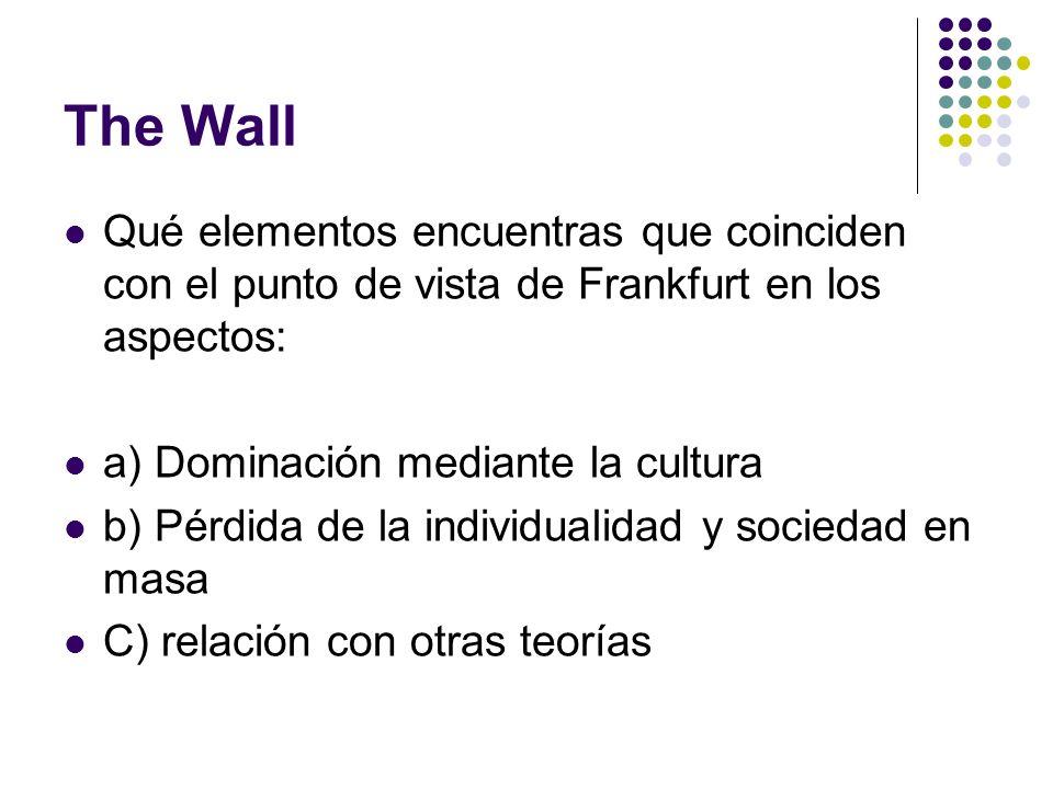 The Wall Qué elementos encuentras que coinciden con el punto de vista de Frankfurt en los aspectos: