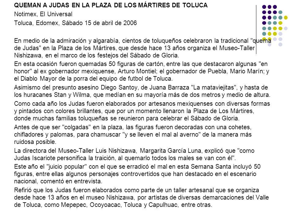 QUEMAN A JUDAS EN LA PLAZA DE LOS MÁRTIRES DE TOLUCA