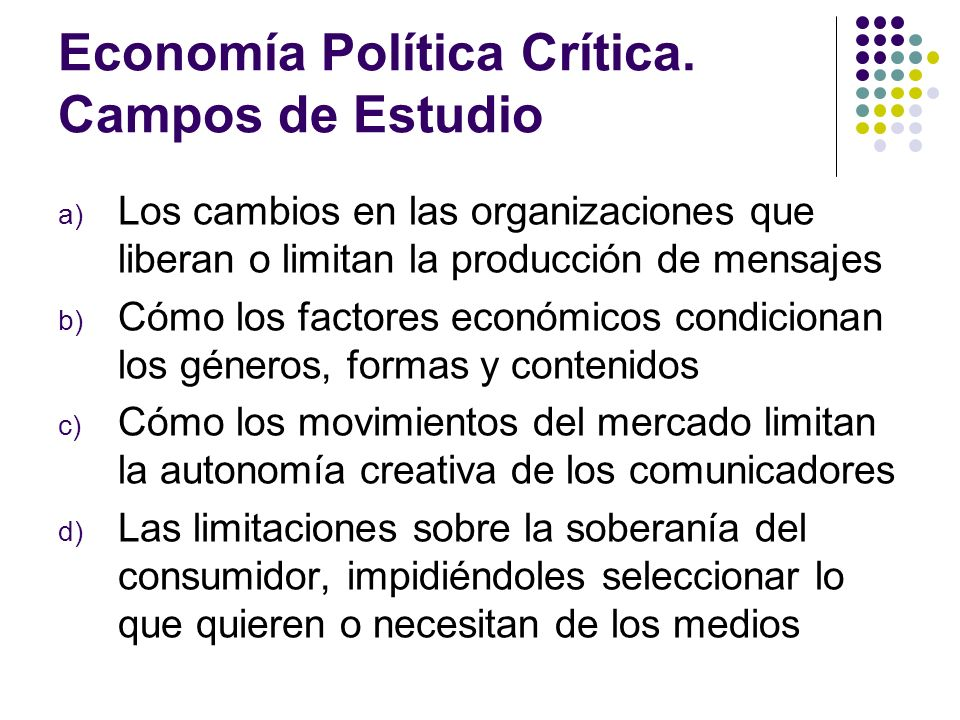 Economía Política Crítica. Campos de Estudio