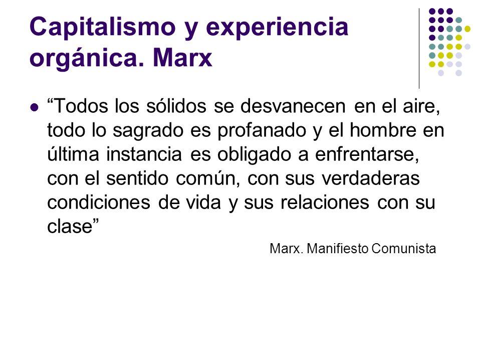 Capitalismo y experiencia orgánica. Marx