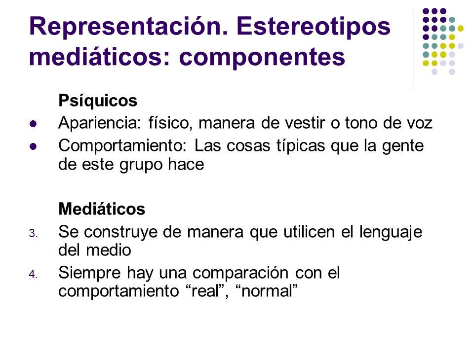 Representación. Estereotipos mediáticos: componentes
