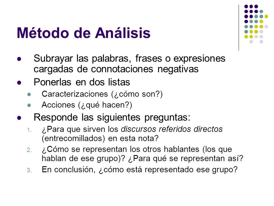 Método de AnálisisSubrayar las palabras, frases o expresiones cargadas de connotaciones negativas. Ponerlas en dos listas.