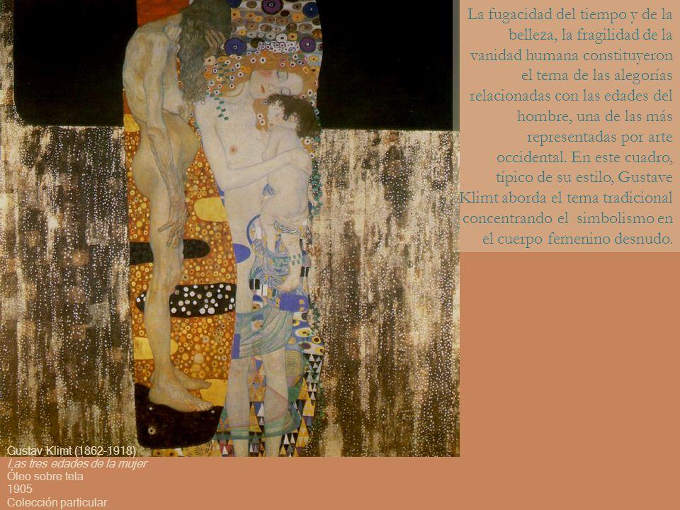 La fugacidad del tiempo y de la belleza, la fragilidad de la vanidad humana constituyeron el tema de las alegorías relacionadas con las edades del hombre, una de las más representadas por arte occidental. En este cuadro, típico de su estilo, Gustave Klimt aborda el tema tradicional concentrando el simbolismo en el cuerpo femenino desnudo.
