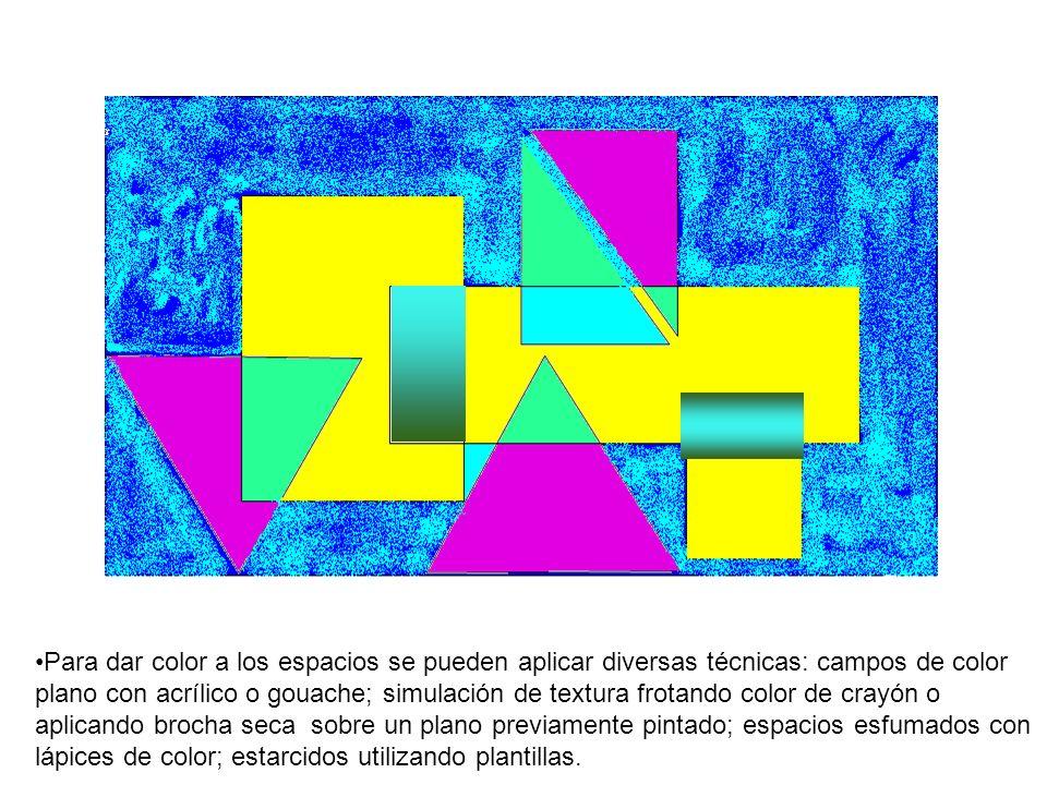 Para dar color a los espacios se pueden aplicar diversas técnicas: campos de color plano con acrílico o gouache; simulación de textura frotando color de crayón o aplicando brocha seca sobre un plano previamente pintado; espacios esfumados con lápices de color; estarcidos utilizando plantillas.