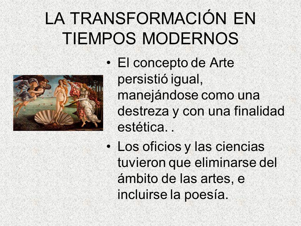 LA TRANSFORMACIÓN EN TIEMPOS MODERNOS