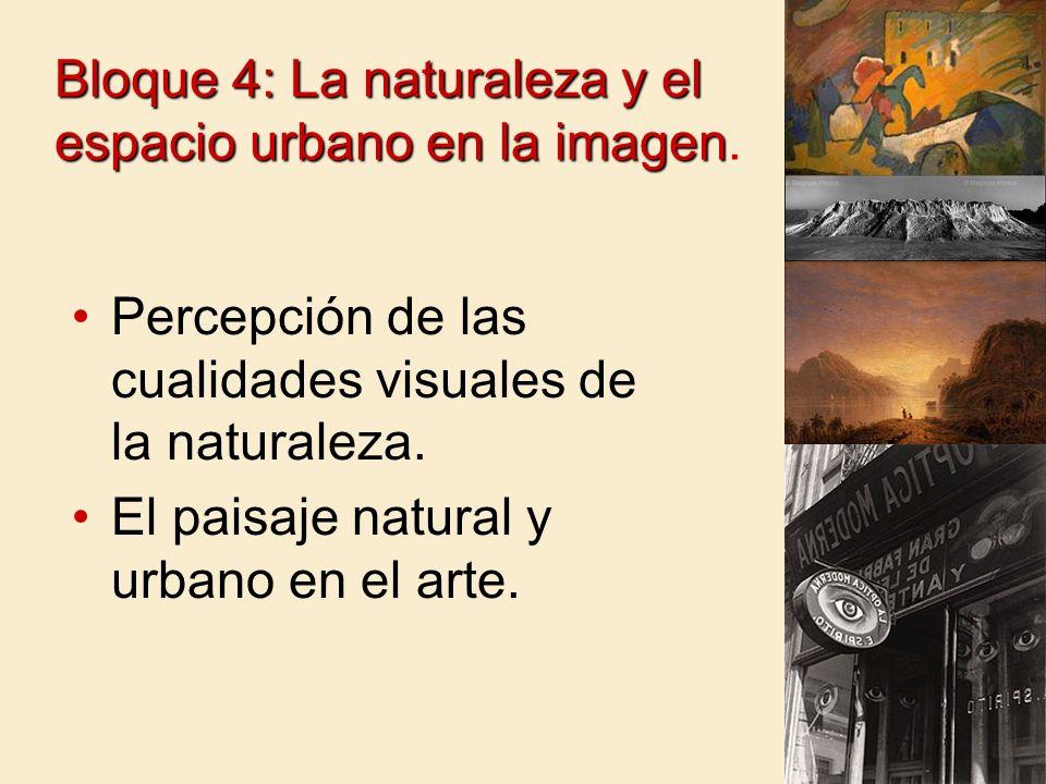 Bloque 4: La naturaleza y el espacio urbano en la imagen.