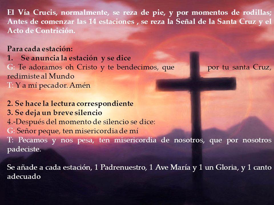 El Vía Crucis, normalmente, se reza de pie, y por momentos de rodillas; Antes de comenzar las 14 estaciones , se reza la Señal de la Santa Cruz y el Acto de Contrición.