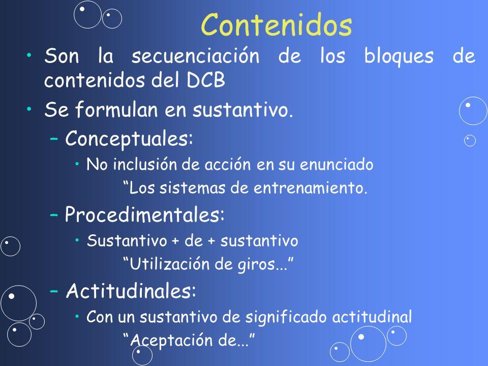 Contenidos Son la secuenciación de los bloques de contenidos del DCB