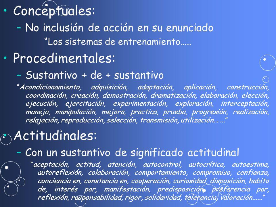 Conceptuales: Procedimentales: Actitudinales:
