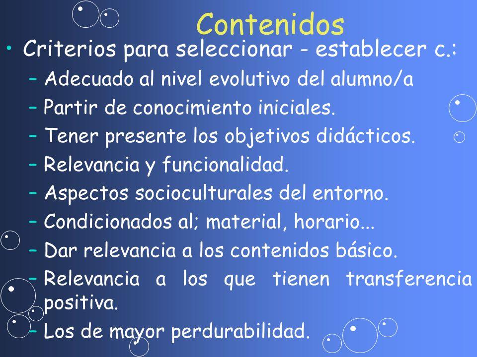 Contenidos Criterios para seleccionar - establecer c.: