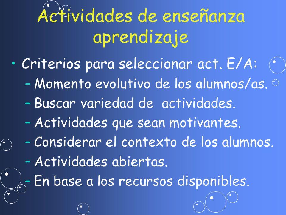 Actividades de enseñanza aprendizaje