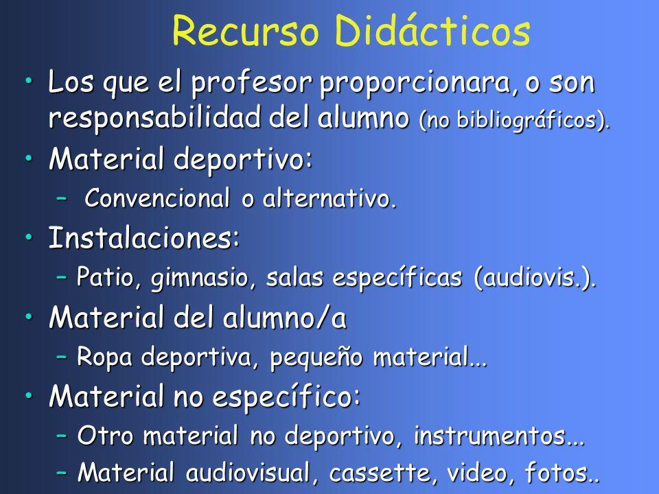 Recurso Didácticos Los que el profesor proporcionara, o son responsabilidad del alumno (no bibliográficos).