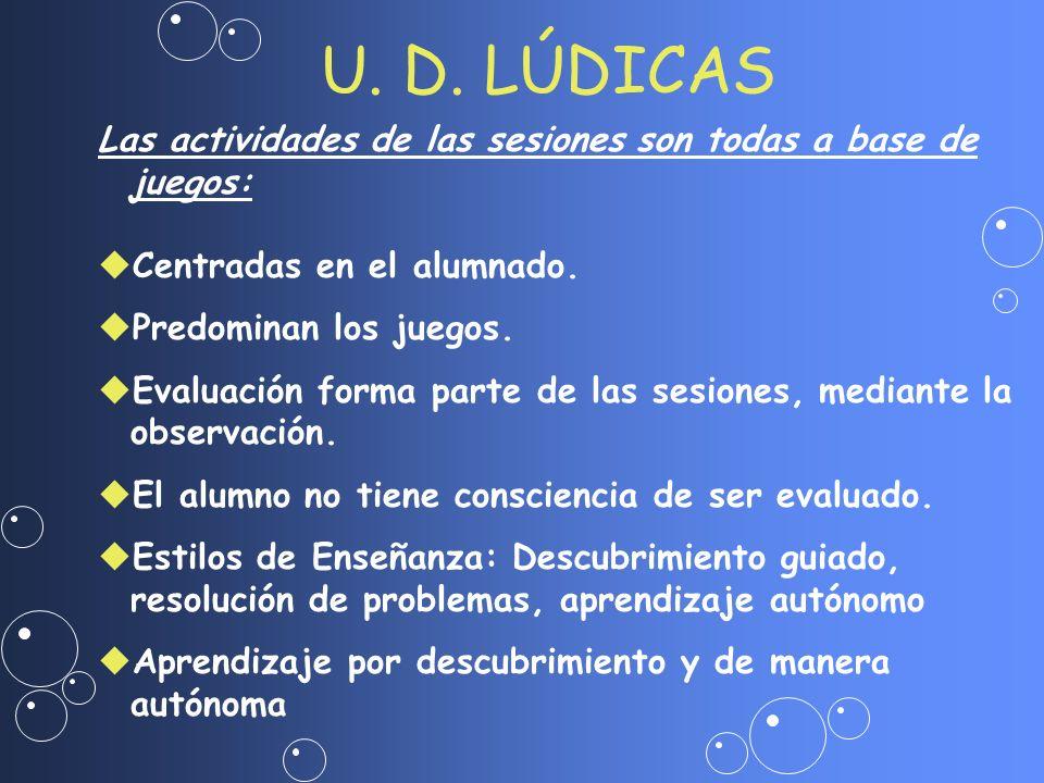 U. D. LÚDICAS Las actividades de las sesiones son todas a base de juegos: Centradas en el alumnado.