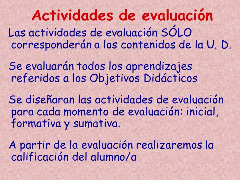Actividades de evaluación