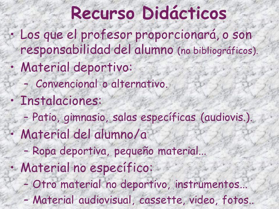 Recurso Didácticos Los que el profesor proporcionará, o son responsabilidad del alumno (no bibliográficos).