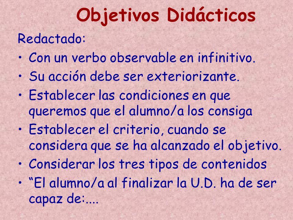Objetivos Didácticos Redactado: Con un verbo observable en infinitivo.