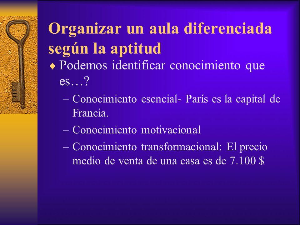 Organizar un aula diferenciada según la aptitud