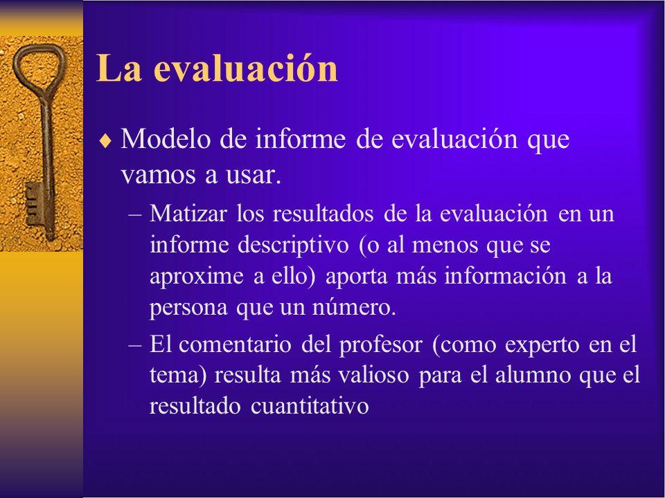 La evaluación Modelo de informe de evaluación que vamos a usar.